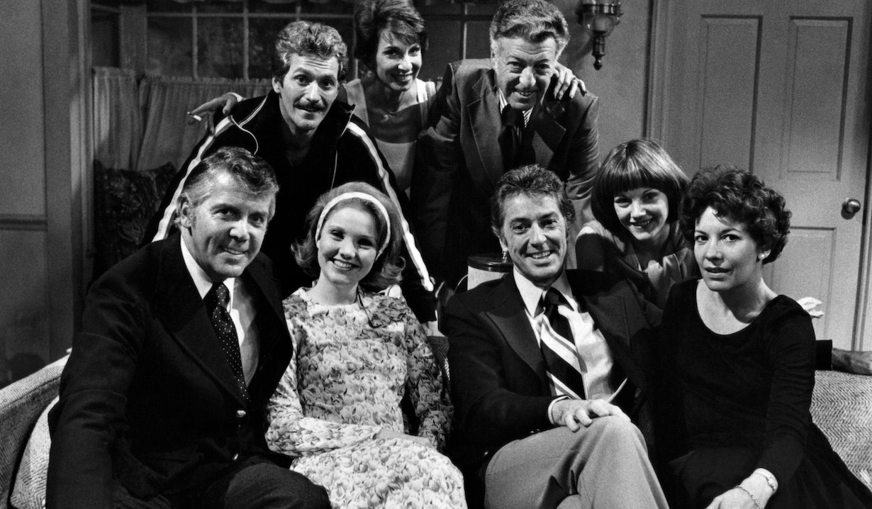 ONE LIFE TO LIVE, (rear l-r): Jeffrey Pomerantz, Doris Belack, Nat Polen, Kathy Glass, (front l-r): Lee Patterson, Erika Slezak, Farley Granger, Nancy Pinkerton, (1976), 1968-2012. ©ABC/courtesy Everett Collection