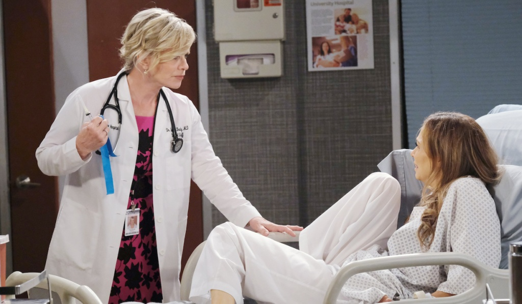 Ava cowers from Kayla at the hospital on Days of Our Lives