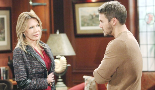 """Hunter Tylo, Scott Clifton""""The Bold and the Beautiful"""" Set CBS Television City Los Angeles, Ca. 10/26/18 © Howard Wise/jpistudios.com 310-657-9661 Episode # 7978 U.S.Airdate 11/30/18"""