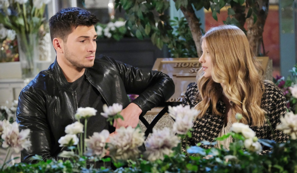 Ben and Allie talk in Horton Square on Days of Our Lives