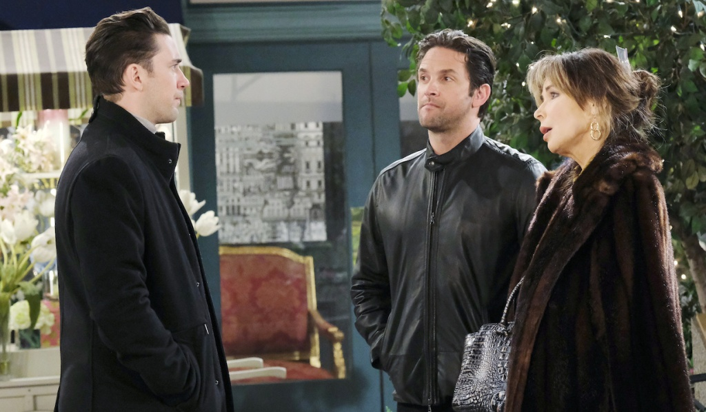 Chad faces Kate and Jake in Horton Square on Days of Our Lives