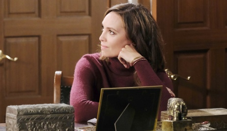 Gwen looking smug at the DiMera mansion on Days of Our Lives