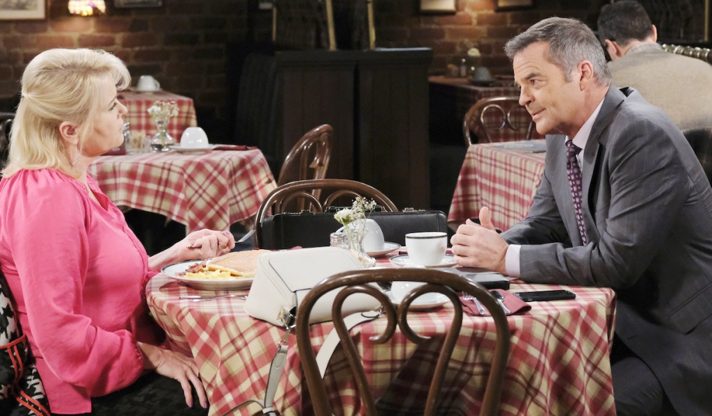 Adrienne and Justin talk over breakfast on Days of Our Lives