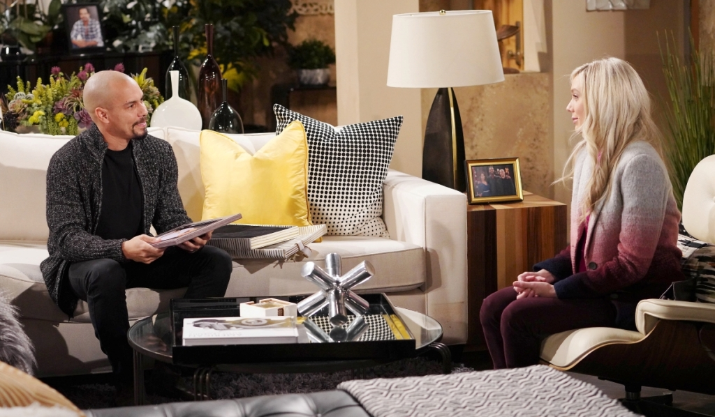 Abby brings Devon gift at penthouse Y&R