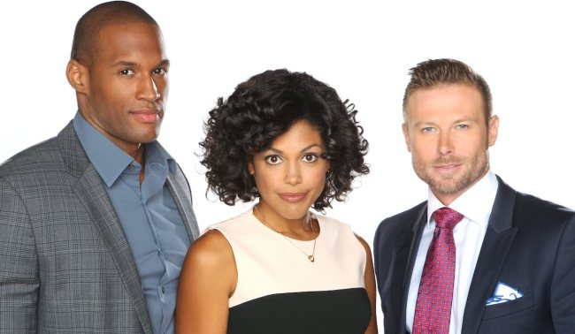 """Jacob Young, Karla Mosley, Lawrence Saint Victor""""The Bold and the Beautiful"""" Set with the Cast CBS Television City Los Angeles, Ca. 09/03/14 © John Paschal/jpistudios.com 310-657-9661"""