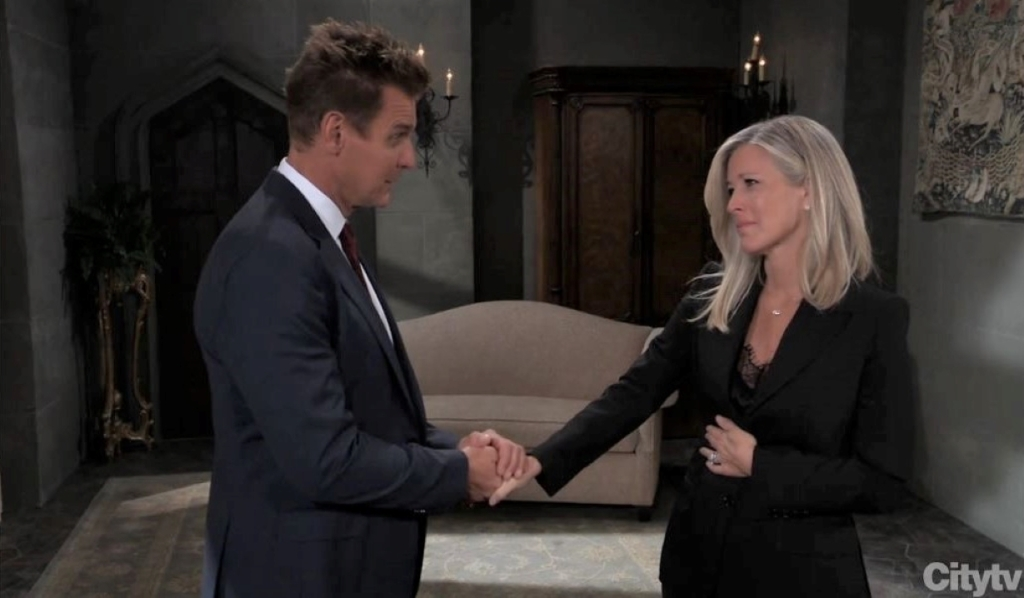 Carly and Jax talk Nelle's death at church General Hospital