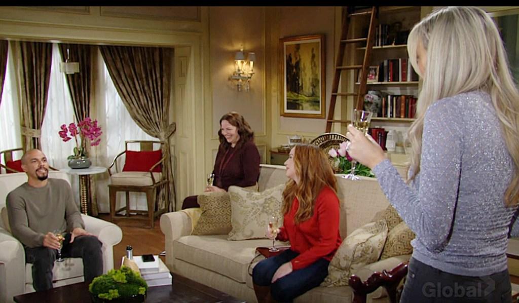 Devon, Nina, Mariah, Abby toast Y&R