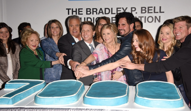 Brad Bell, Colleen Bell, Lauralee Bell, Lee Phillip Bell, Chasen Bell, Casey Kasprzyk, Ed Scott, Cast and CrewThe Bold and the Beautiful Studio 31 Dedication to Bradley P. Bell in honor of 7,000 episodes (7000th episode to air on 1/23/15)CBS Television CityLos Angeles, Ca.01/14/15© Jill Johnson/jpistudios.com310-657-9661