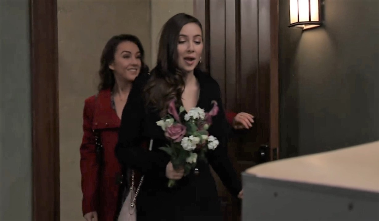 Kristina and Molly arrive for wedding at law office General Hospital