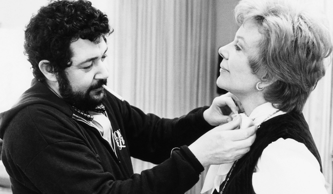 SEARCH FOR TOMORROW, from left: costume designer Robert Anton making adjustments for Mary Stuart on set, (1980), 1951-1986