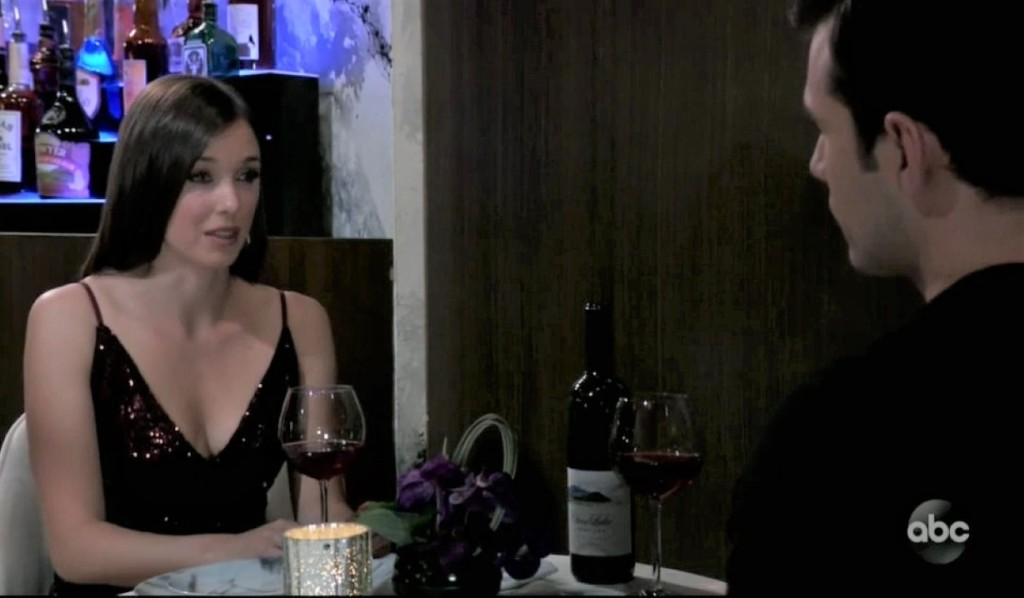 Chase and Willow talk wine at the Grill General Hospital