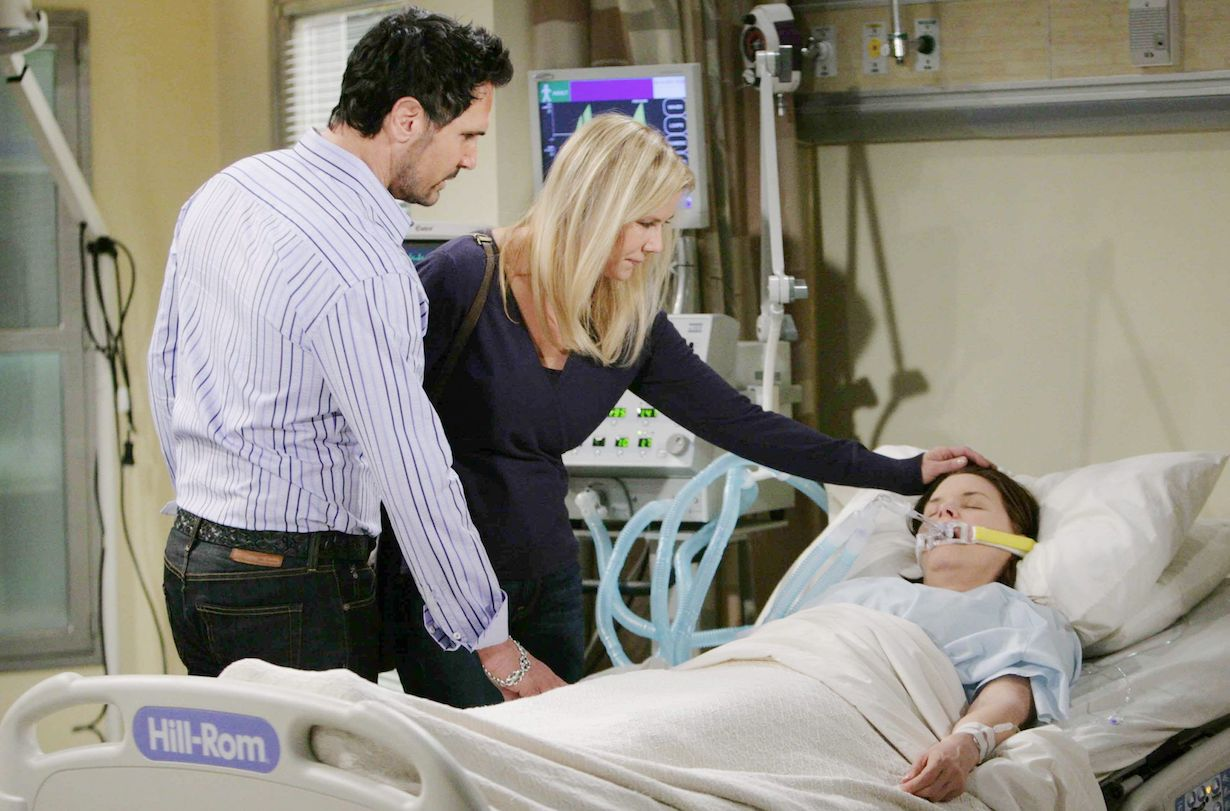 """Heather Tom, Katherine Kelly Lang, Don Diamont """"The Bold and the Beautiful"""" bill brooke katie hospital"""