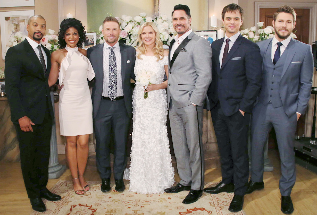 """Don Diamont, Katherine Kelly Lang, Aaron D Spears, Darin Brooks, Karla Mosley, Jacob Young, Scott Clifton """"The Bold and the Beautiful"""" Set Wedding CBS Television City Los Angeles, Ca. 04/19/17 © Howard Wise/jpistudios.com 310-657-9661"""