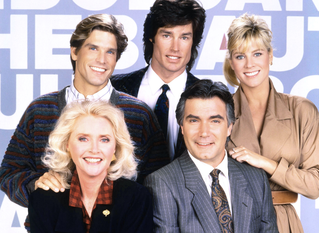 THE BOLD AND THE BEAUTIFUL, front from left: Susan Flannery, John McCook, rear from left: Clayton Norcross, Ronn Moss, Teri Ann Linn, 1987-, © CBS/courtesy Everett Collection