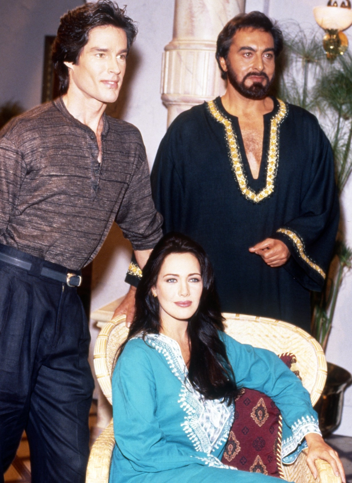 THE BOLD AND THE BEAUTIFUL, from left: Ronn Moss, Hunter Tylo, Kabir Bedi, 1990s, 1987– . /© CBS / Courtesy Everett Collection