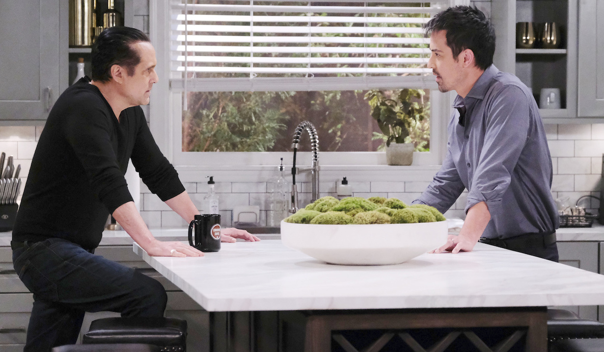 Sonny and Nikolas talk near the moss in the Corinthos kitchen on General Hospital