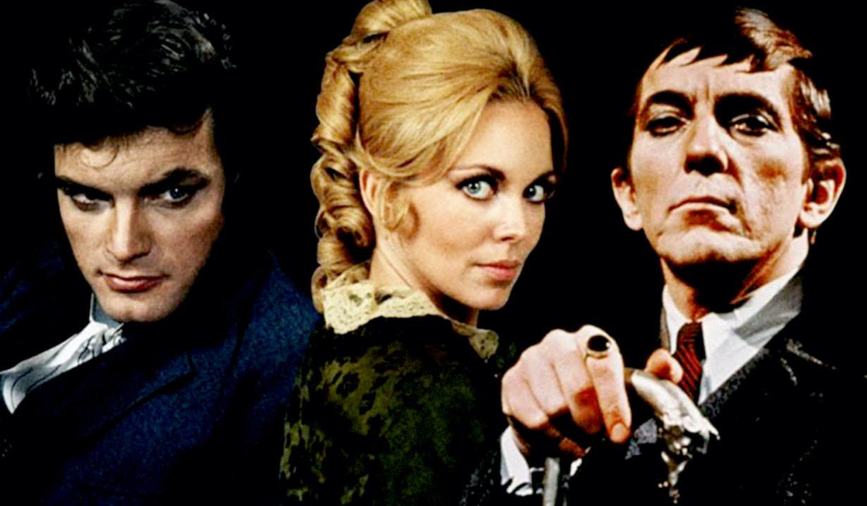 DARK SHADOWS, from left: David Selby, Lara Parker, Jonathan Frid, 1966-71.