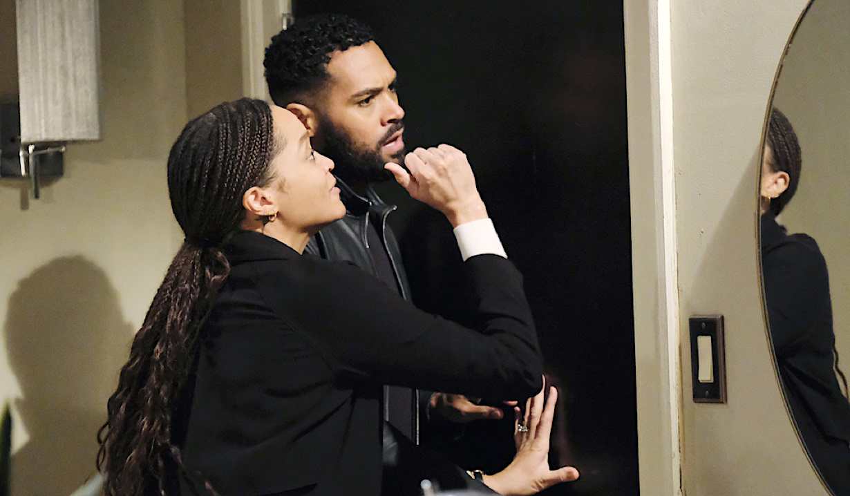 Lani and Eli pound on a door on Days of Our Lives
