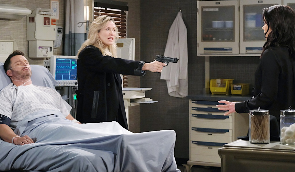 Kristen holds a gun on Chloe at Brady's beside on Days of Our Lives