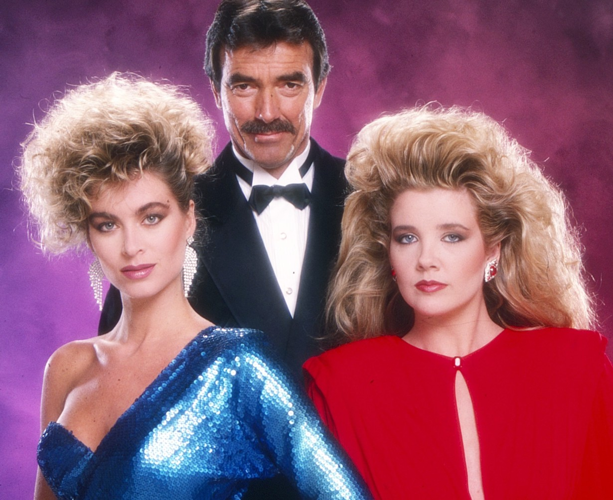 THE YOUNG AND THE RESTLESS, from left: Eileen Davidson, Eric Braeden, Melody Thomas Scott, 1987, 1973-, ph: Bernard Boudreau / TV Guide / © CBS /Courtesy Everett Collection