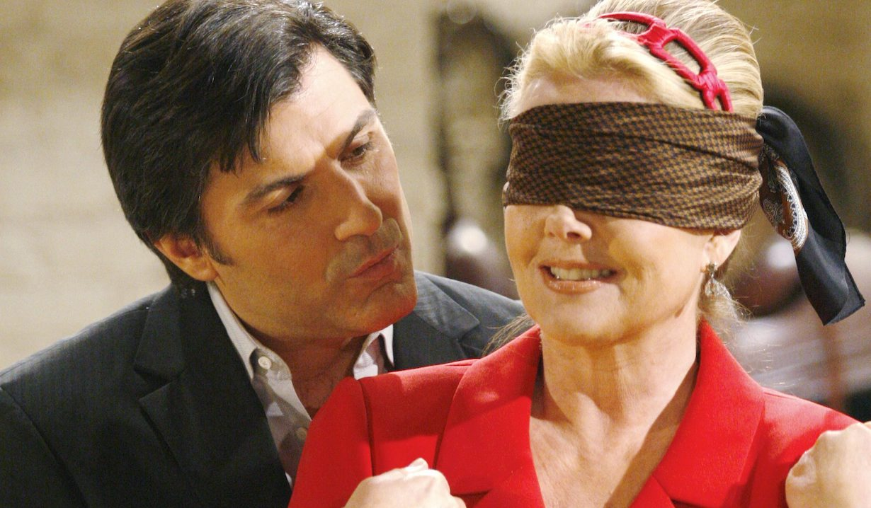"Melody Thomas Scott, Vincent Irizarry ""The Young and the Restless"" david chow nikki blindfold"