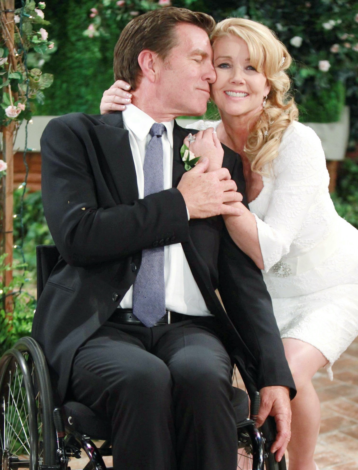"Melody Thomas Scott, Peter Bergman ""The Young and the Restless"" jack nikki wedding wheelchair"