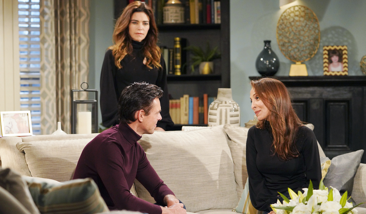 """Amelia Heinle, Jason Thompson, Christel Khalil """"The Young and the Restless"""" Set CBS television City Los Angeles 01/07/21 © Howard Wise/jpistudios.com 310-657-9661 Episode # 12043 U.S. Airdate 02/02/21"""