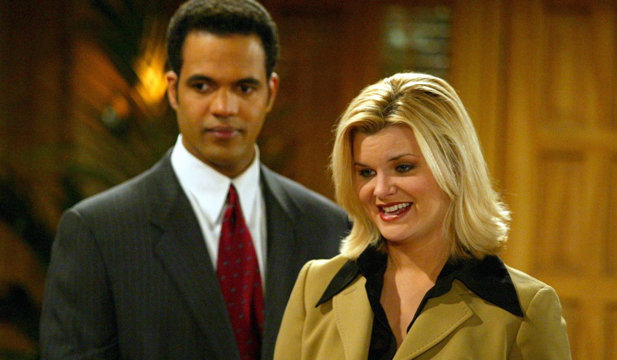 """Kristoff St. John and Heather Tom """"The Young and the Restless"""" Set CBS Television City 2/7/03 ©Jesse Grant/JPI 310-657-9661 Episode #7587"""