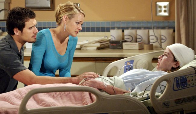 """cassie dies Camryn Grimes, Sharon Case, Joshua Morrow""""The Young and the Restless"""" Set CBS Television City4/4/05©Brian Lowe/jpistudios.com310-657-9661Episode #8127"""