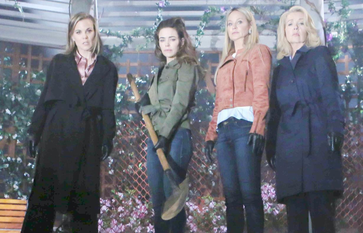 Melody Thomas Scott, Sharon Case, Amelia Heinle, Gina Tognoni sharon nikki victoria phyllis bury jt hw