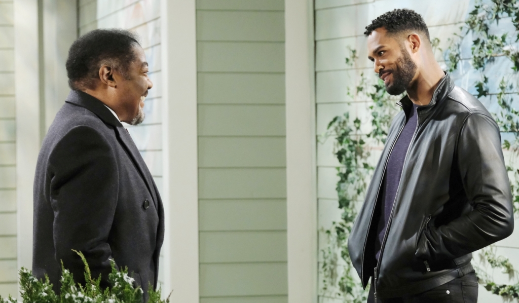 Abe and Eli discuss Lani and Kristen outside pub Days of our Lives