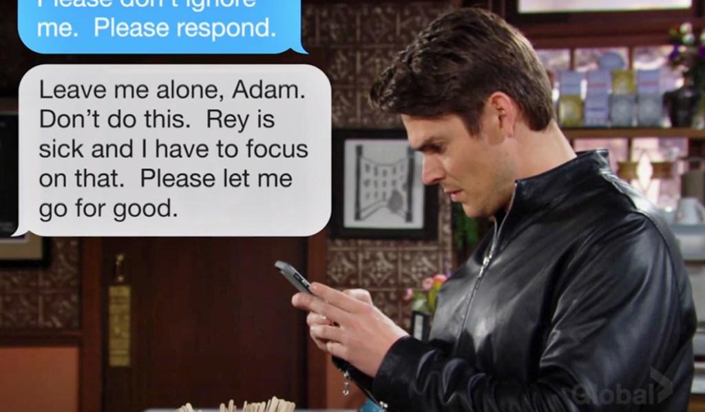 Adam bewildered texts Y&R