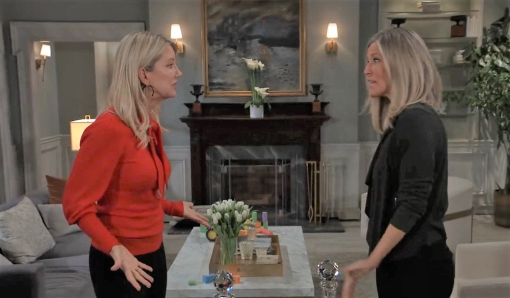 Carly and Nina argue about Wiley at Quartermaine's General Hospital