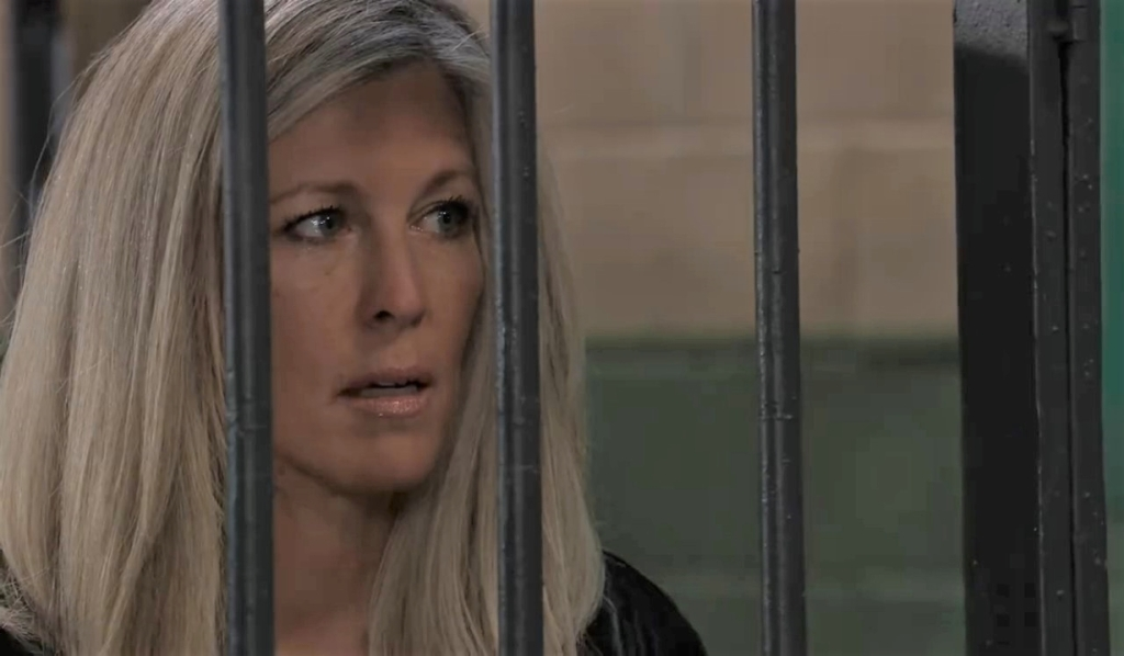 Carly and Jason discuss Gladys in cells General Hospital