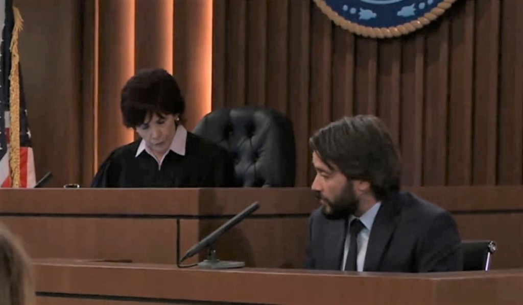 Dante testifies in Alexis' hearing in court house General Hospital