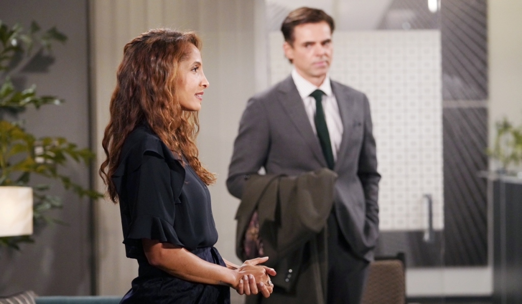 Lily and Billy discuss Victoria at Chance Com Y&R
