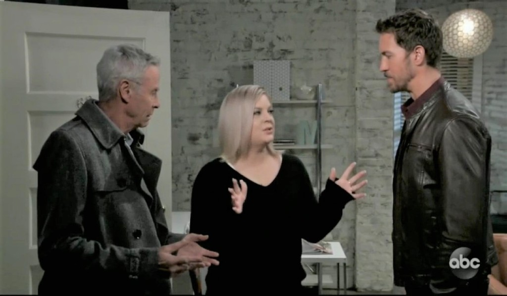 Maxie gets between Robert and Peter at home General Hospital