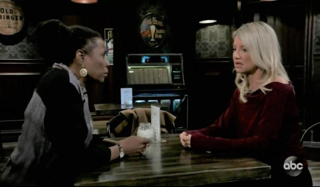 Phyllis and Nina discuss Carly at Tan-O General Hospital