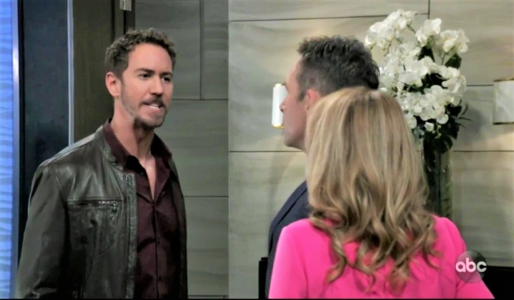 Peter tells Olivia and Valentin about Dante with gun at Metro Court General Hospital