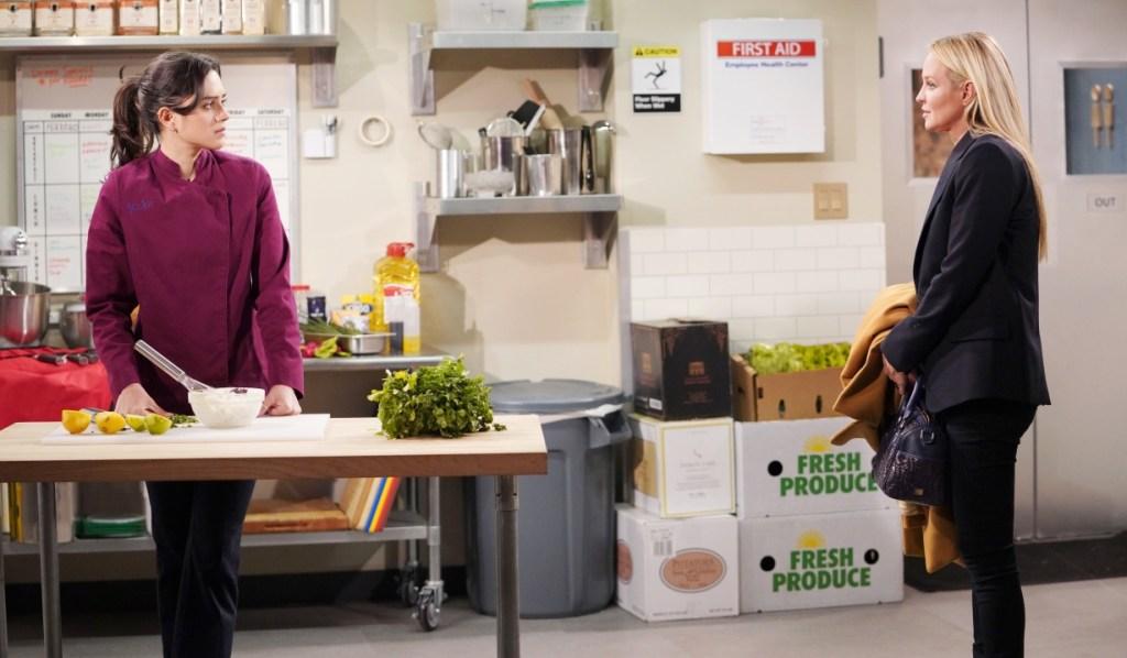 Sharon and Lola talk Adam and Rey at Society Y&R