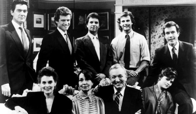 RYAN'S HOPE, top from left: Daniel Pilon, John Sanderford, Malcolm Groome, Christopher Durham, Michael Levin, bottom from left: Nancy Addison, Helen Gallagher, Bernard Barrow, Yasmine Bleeth, 1975-89.