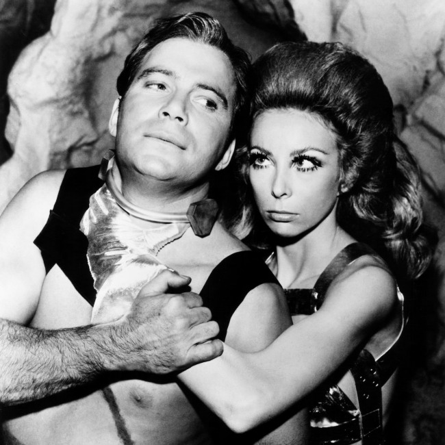 STAR TREK, from left, William Shatner, Angelique Pettyjohn, 'The Gamesters of Triskelion,' aired January 5, 1968, 1966-69