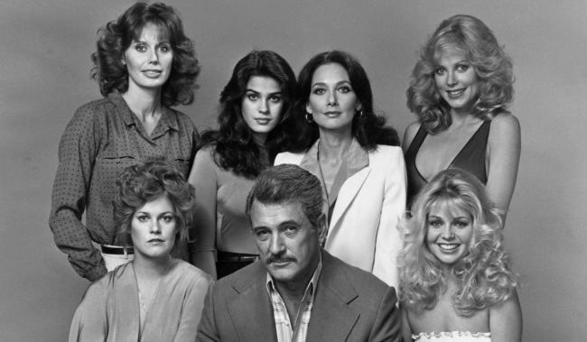 THE STAR MAKER, (clockwise from bottom left) Melanie Griffith, Cathy Shirriff, Kristian Alfonso, Suzanne Pleshette, April Clough, Teri Copley and Rock Hudson, 1981.