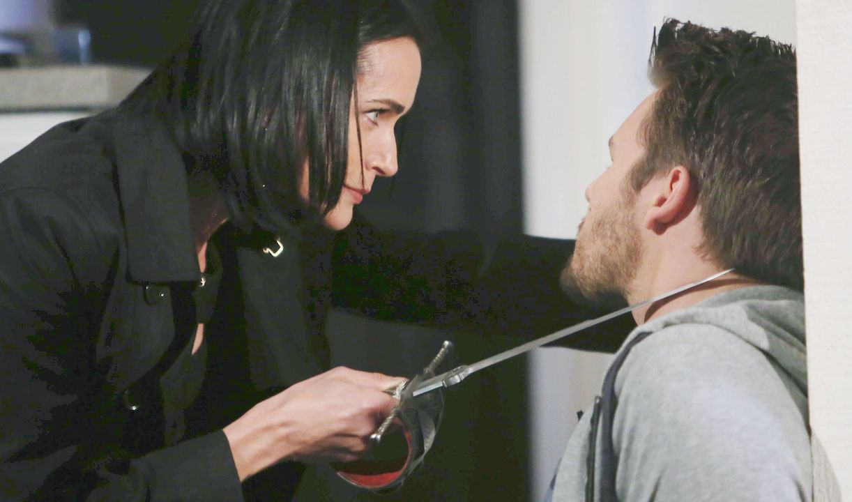 "Rena Sofer, Scott Clifton ""The Bold and the Beautiful"" quinn threatens liam knife hw"