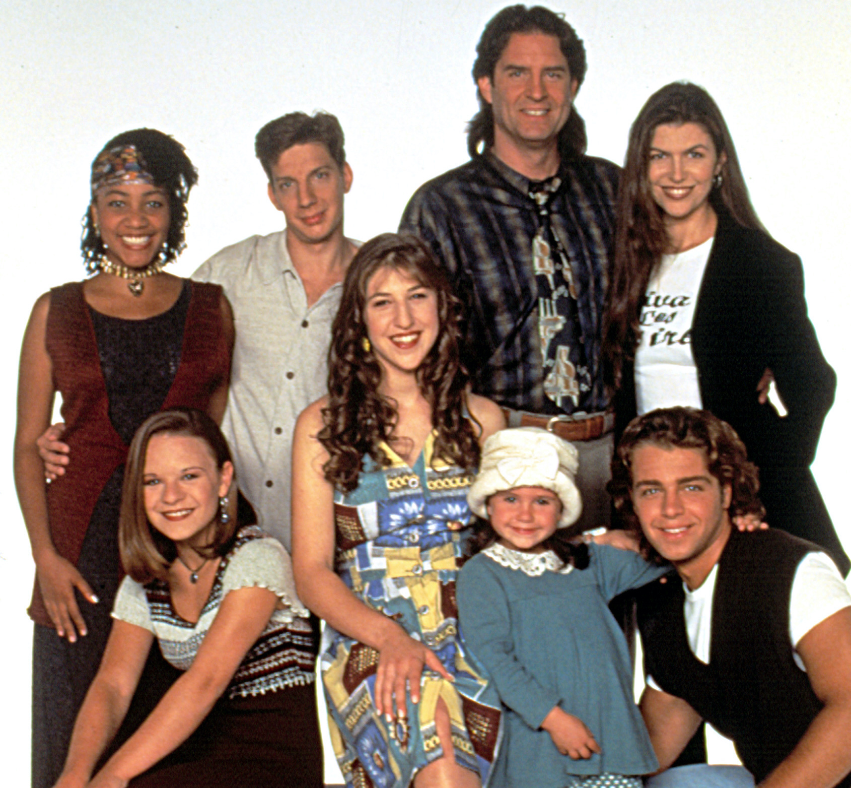 BLOSSOM, (back l to r): Samaria Graham, Michael Stoyanov, Ted Wass, Finola Hughes, (front l to r): Jenna Von Oy, Mayim Bialik, Courtney Chase, Joey Lawrence, Season 5, 1991-95, (c)Touchstone Television/courtesy Everett Collection