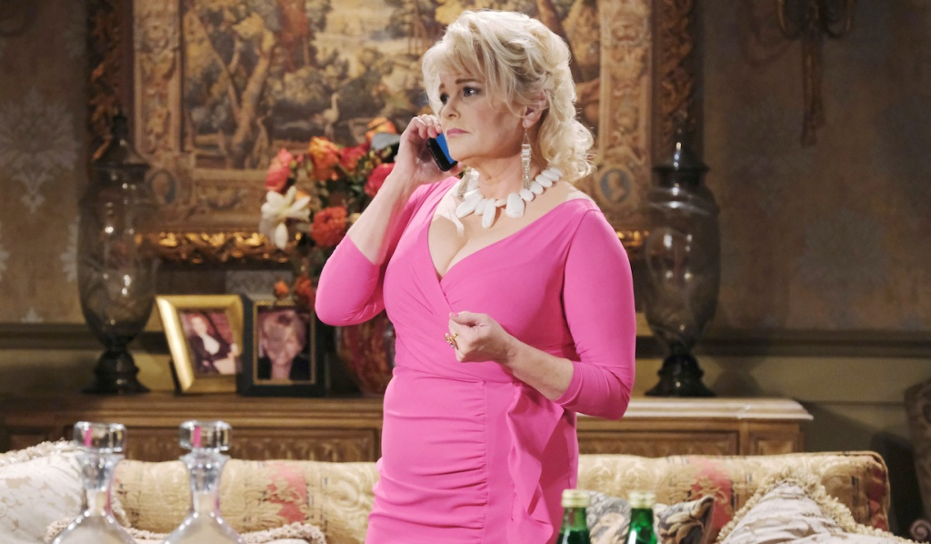Bonnie in a hot pink dress on Days of Our Lives
