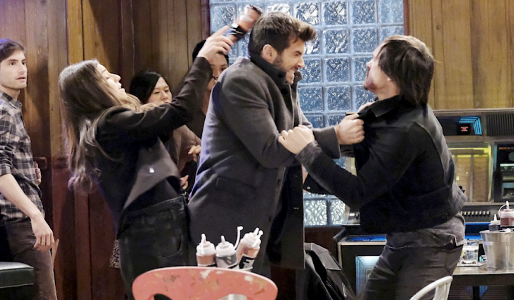 Brook Lynn hits Chase over the head with a bottle on General Hospital