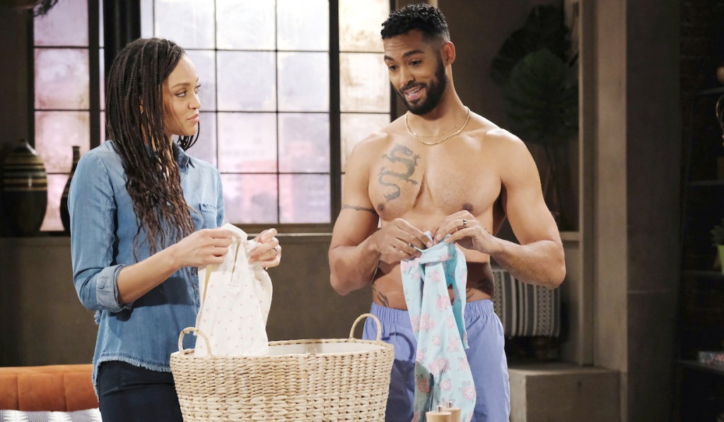 Eli and Lani fold clothes on Days of Our Lives