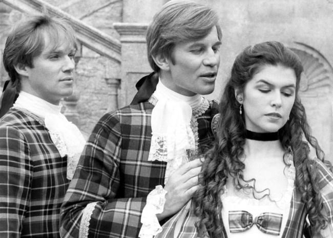 THE MASTER OF BALLANTRAE, from left, Richard Thomas, Michael York, Finola Hughes, aired January 31, 1984. ©CBS/courtesy Everett Collection