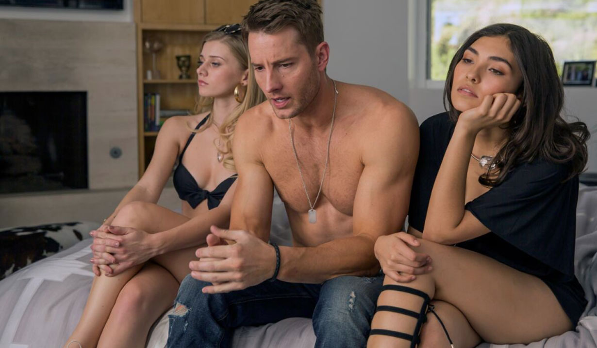 justin hartley as kevin with two half-naked girls this is us pilot